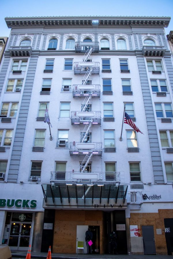 The city of San Francisco bought Hotel Diva, as part of its Project Homekey, to house the homeless. About $29 million went towards converting the hotel to a permanent shelter in the Lower Nob Hill district on February 5, 2020. (Amalia Diaz / Golden Gate Xpress)