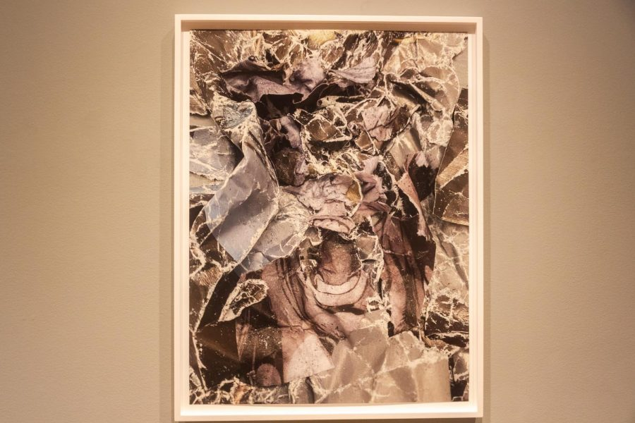 """""""Pulp"""", one of the images in Marclay's exhibit. The first section of Marclay's exhibit contains various screaming faces and cutouts that Marclay arranged to create mask-like photographs. (Dan DeJesus / Golden Gate Xpress)"""