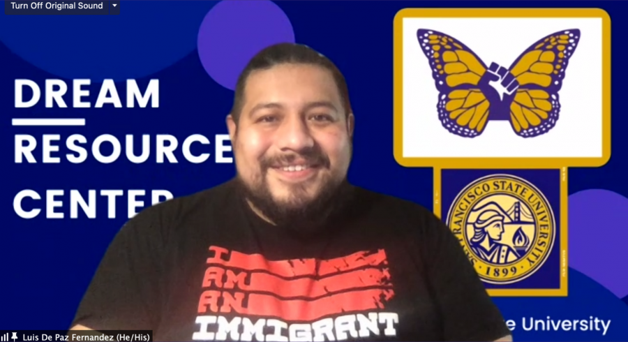 "Luis De Paz Fernandez poses in front of Dream Resource Center Zoom ""background"" for the Gator Talk interview on Monday, February 22, 2021. (Sebastian Miño-Bucheli / Golden Gate Xpress)"
