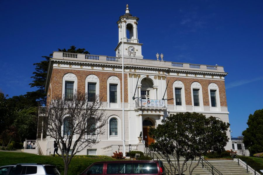 South San Francisco's city hall, photographed on Sunday. The city's hazard pay took effect on February 24, and will have a 90-day 'sunset period' -  the set time period of the ordinance's effect. (Paul Kelly / Golden Gate Xpress)