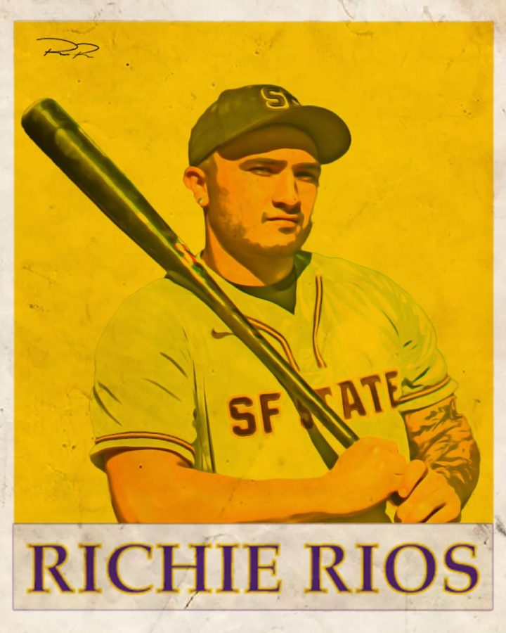 Richie Rios illustrated in a vintage baseball card. On full display, he helped lead the Gators to their best percentage of victories since 2006. (Amalia Diaz / Golden Gate Xpress)