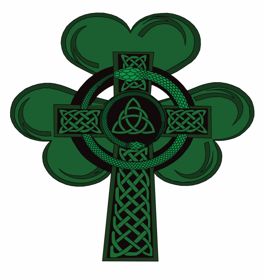 Snakes%2C+representing+Irish+pagans%2C+wrap+around+a+Celtic+cross+to+show+the+interconnectedness+of+Irish+pagans%2C+Christianity+and+St.+Patrick%E2%80%99s+Day.+The+shamrock+is+said+to+have+been+used+by+Saint+Patrick+as+a+metaphor+for+the+Holy+Trinity+when+converting+pagans.+%28Illustration+by+Lea+Loeb+%2F+Golden+Gate+Xpress%29