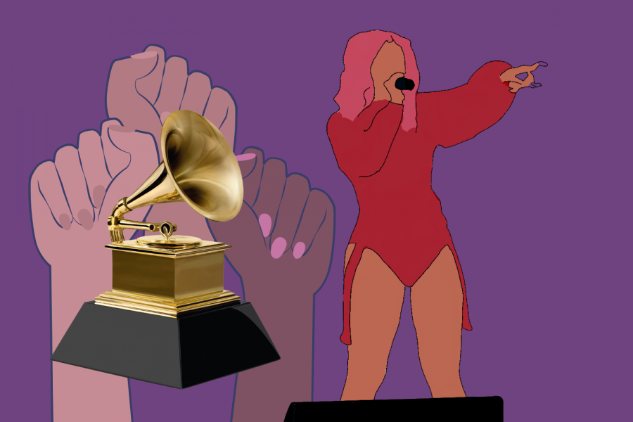 Illustration+of+Cardi+B+at+a+performance+with+the+Grammy+Award+and+hands+in+a+power+fist.+Courtesy+of+the+Recording+Academy%C2%AE+%2F+Getty+Images+%C2%A9+2020+and+a+photo+by+Diana+Rubio+found+on+Flickr+of+Cardi+B+used+for+cropping+in+and+drawing+reference+to+have+the+original+photo+built+upon.+%28Sebastian+Mi%C3%B1o-Bucheli+%2F+Golden+Gate+Xpress%29