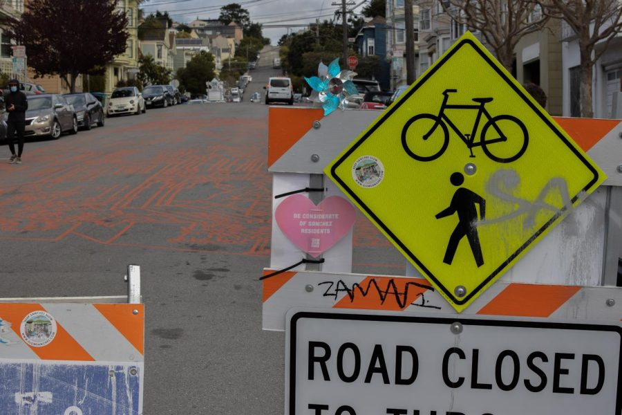 After weeks of painting this newly implemented street, Goldbaum completed this piece on Sanchez Street in Noe Valley on March 5. This street was made specifically for bikers and pedestrians to be separated from through traffic. (Leila Figueroa / Golden Gate Xpress)