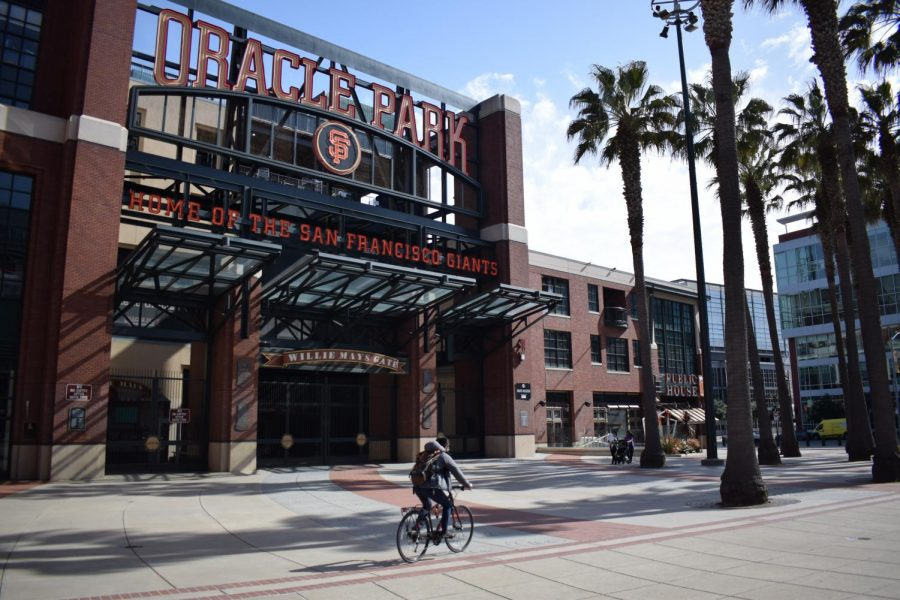 The Giants' Oracle Park Stadium main entrance, which has been closed for just over a year now, opens at the beginning of the MLB season on April 1, 2021. (Lucky Whitburn-Thomas)