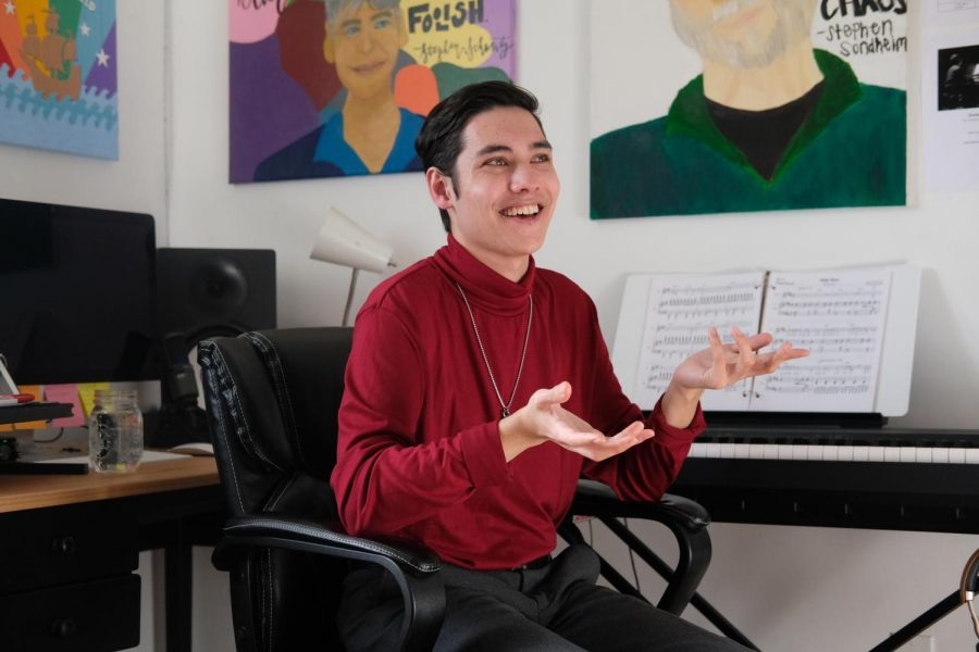 Christian Cantrell, lyricist and composer in the SF State Drama Department, speaks about his journey in music and theater on March 14. (Avery Wilcox / Golden Gate Xpress)