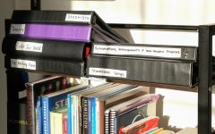 A storage shelf in Christian Cantrell's room with various musicals on March 14. Cantrell is a lyricist and composer in the SF State Drama Department. (Avery Wilcox / Golden Gate Xpress)