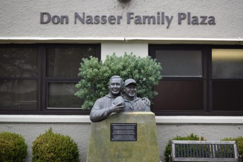 A statue of former Gator football coaches Vic Rowen (left) and Joe Verducci (right) in front of the Don Nasser Family Plaza at SF State on March 15. (Lucky Whitburn-Thomas / Golden Gate Xpress)