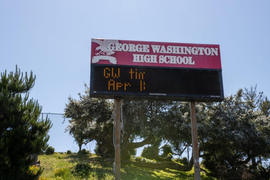A photo of the scoreboard at the stadium in George Washington High School, another school among the 44. (Amalia Diaz / Golden Gate Xpress)