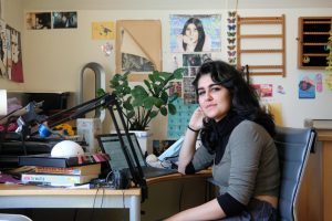 Niku Radan is a broadcasting and electronic arts major at SF State. She has been taking her classes from her bedroom in Portola since the beginning of the pandemic. (Avery Wilcox / Golden Gate Xpress)