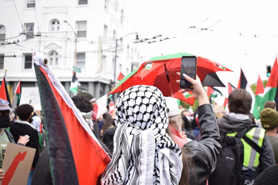 Demonstrators gathered at the intersection of Valencia and 16th streets on May 15, the commemorative date of the Nakba. The Nakba, which translates to