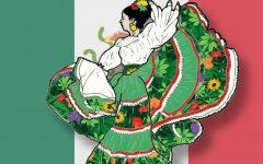 A woman dances the Jarabe Tapatio, a traditional Mexican dance, in front of the Mexican flag. (Photograph courtesy of Brendan Lally, CC, Illustration by Kyran Berlin / Golden Gate Xpress)