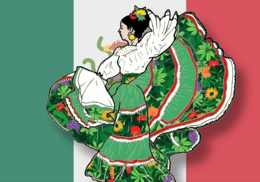 A+woman+dances+the+Jarabe+Tapatio%2C+a+traditional+Mexican+dance%2C+in+front+of+the+Mexican+flag.+%28Photograph+courtesy+of+Brendan+Lally%2C+CC%2C+Illustration+by+Kyran+Berlin+%2F+Golden+Gate+Xpress%29