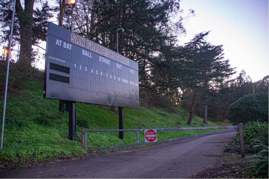 The scoreboard on the Maloney Field at SF State on Feb. 23, 2021. The California Collegiate Athletic Association (CCAA) announced the return of sports for the fall of 2021. (Ricardo Olivares / Golden Gate Xpress)