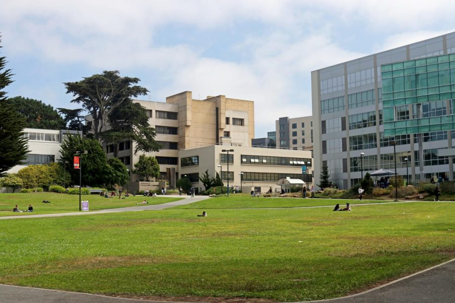 A view of the Quad, where people rest, take naps, socialize and sometimes teach their classes (left-center). (Sabita Shrestha / Golden Gate Xpress)