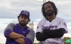 Isaac Benard (L) and Shawon Dunston Jr. (R) pose for a photo before their game on September 9, 2021, at Mercy Health Stadium in Avon, Ohio. (Elizabeth Agazaryan / Golden Gate Xpress)