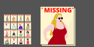 Several women of color missing posters stand next to an enlarged white woman missing poster. This phenomenon is referred to as the missing white girl syndrome, which is when media coverage highlights missing white women but not women of color. (Paris Galarza/Golden Gate Xpress)