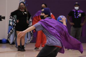 John Takemura launches the ball on Oct. 21, 2021. Team MWC won the first round of dodgeball making them have the lead of 1-0. (Paris Galarza / Golden Gate Xpress)
