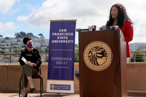 SF State President Lynn Mahoney and Mayor London Breed announce that SF State is offering full scholarships to 10 eligible youth to encourage more students to get vaccinated, at the fifth floor patio of the Administration Building on Oct. 18, 2021. I cant think of a better incentive than that, in order to be a part of what I think is an incredible institution, Breed said. (Sabita Shrestha / Golden Gate Xpress)