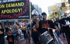 Xochitl leads a chant as the group marches down Market Street for San Francisco's March for Our Rights on Oct. 2, 2021. Degrading women or revolution they asked, to which crowds responded, I choose revolution! (Morgan Ellis / Golden Gate Xpress)